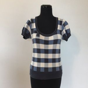 H&M checkered knit short sleeve sweater, 4